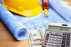 Calcul de coût sur la conception de maison Image stock