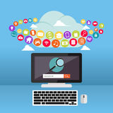 Calcul de nuage Contenu d'Internet Applications Web Photographie stock libre de droits
