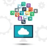 Calcul de nuage Icônes d'ordinateur de bureau et d'apps sur le fond blanc Image libre de droits