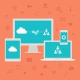Calcul de nuage Icônes de Web réglées Illustration de vecteur Photographie stock libre de droits