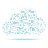 Calcul de nuage Icônes réglées avec l'illustration de vecteur d'icône de nuage Photos libres de droits