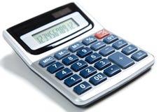 Calculadora abotonada azul en blanco Fotos de archivo libres de regalías