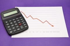 Calculadora ao lado da carta da tendência à baixa Imagem de Stock