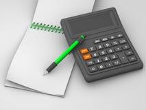 Calculadora, caderno Fotos de Stock