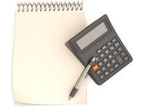 Calculadora, caderno e pena Fotos de Stock Royalty Free
