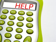 Calculadora com âhelpâ da palavra Imagem de Stock Royalty Free
