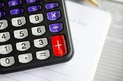 Calculadora com caderno Foto de Stock