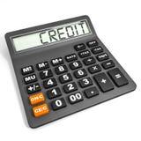 Calculadora com CRÉDITO na exposição Foto de Stock Royalty Free