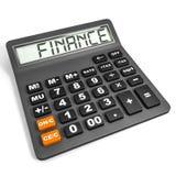 Calculadora com FINANÇA na exposição Fotografia de Stock Royalty Free