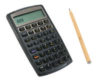 Calculadora com lápis Imagens de Stock Royalty Free