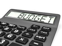 Calculadora com ORÇAMENTO na exposição Imagens de Stock