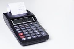 Calculadora con la impresora Foto de archivo libre de regalías