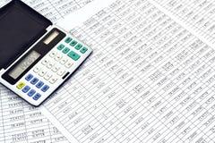 Calculadora con números Fotos de archivo
