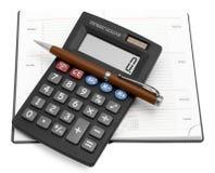 Calculadora con una pluma en un cuaderno Foto de archivo libre de regalías