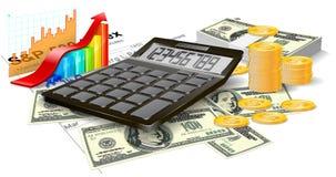 Calculadora, cuentas y monedas. Imagen de archivo libre de regalías