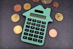 Calculadora da casa do Euro Fotografia de Stock Royalty Free