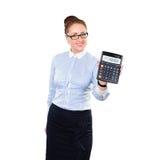 Calculadora de la demostración del contable de mujer Foto de archivo