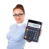 Calculadora de la demostración del contable de mujer Imagen de archivo libre de regalías