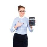 Calculadora de la demostración del contable de mujer Fotos de archivo