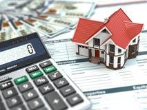 Calculadora de la hipoteca. Casa, noney y documento. Imagen de archivo