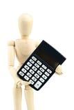 Calculadora de madeira da posse do homem no fundo branco Imagens de Stock