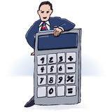 Calculadora del hombre de negocios y de bolsillo Fotografía de archivo libre de regalías