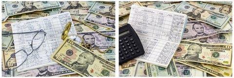 Calculadora del reloj de las gafas del talonario de cheques del efectivo Imagen de archivo libre de regalías