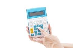Calculadora digital do botão da imprensa do dedo Fotos de Stock Royalty Free