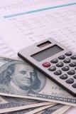 Calculadora, dinheiro, dígitos, cartas imagem de stock royalty free