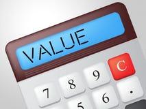 A calculadora do valor representa figuras lucro e artigo de valor Fotos de Stock