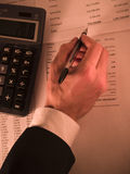 Calculadora do whrite da mão Imagens de Stock Royalty Free