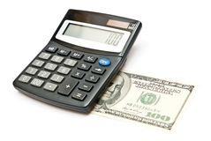 Calculadora e 100 dólares Imagem de Stock Royalty Free