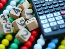 Calculadora e números Imagens de Stock Royalty Free
