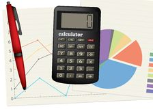 Calculadora e pena. Fotos de Stock
