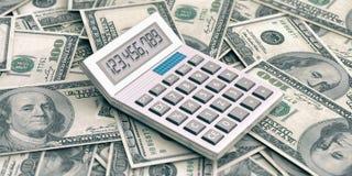 Calculadora en 100 dólares de fondo ilustración 3D Fotos de archivo libres de regalías