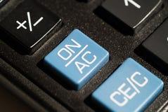 Calculadora en del botón Imagen de archivo libre de regalías