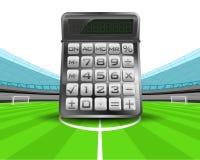 Calculadora en el medio campo del vector del estadio de fútbol Imagen de archivo libre de regalías