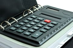 Calculadora en organizador imagen de archivo libre de regalías