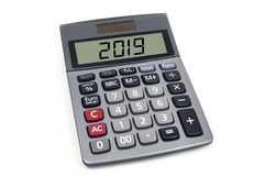 Calculadora isolada com 2019 fotografia de stock