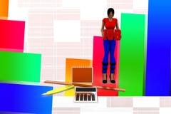 calculadora Job Illustration de las mujeres 3d Imágenes de archivo libres de regalías