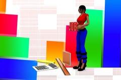 calculadora Job Illustration de las mujeres 3d Fotos de archivo