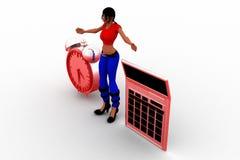 calculadora Job Illustration de las mujeres 3d Fotografía de archivo