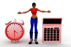calculadora Job Illustration de las mujeres 3d Imagen de archivo libre de regalías
