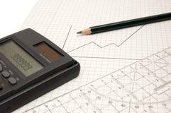 Calculadora, lápiz y regla Foto de archivo libre de regalías