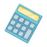 Calculadora Máquina para contar rápidamente datos matemáticas El solo icono de la escuela y de la educación en historieta diseña  Fotos de archivo libres de regalías