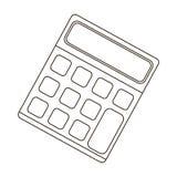 Calculadora Máquina para contar rapidamente dados math O único ícone da escola e da educação no esboço denomina o estoque do símb ilustração stock