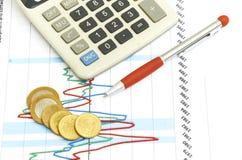 Calculadora, monedas y pluma poniendo en carta. Foto de archivo