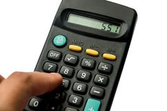 Calculadora negra aislada en el fondo blanco imagen de archivo libre de regalías