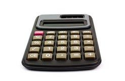 Calculadora negra en el fondo blanco Fotos de archivo libres de regalías
