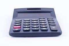 Calculadora para calcular o cálculo de negócio explicando da contabilidade dos números no fundo branco isolado Foto de Stock